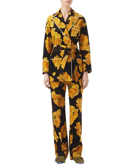 Poppy Print Velvet Jacket, Black/Yellow