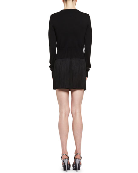 Fringed Mini Skirt, Black (Noir)