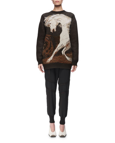 Horse Intarsia Virgin Wool Crewneck Sweater and Matching Items