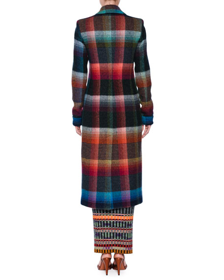 Check Mohair-Blend Single-Breasted Coat
