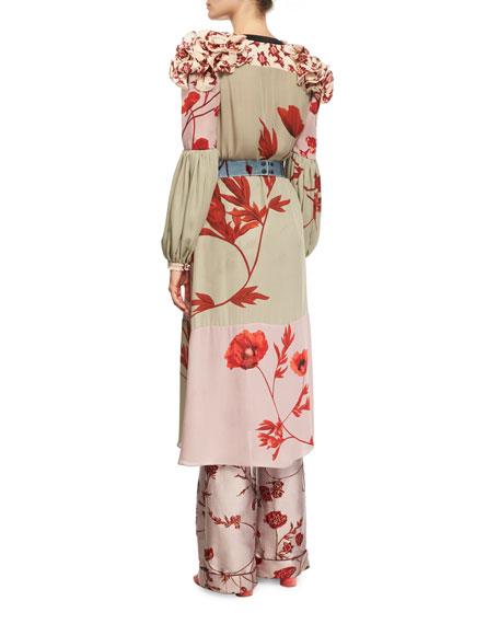 Bellfolia Poppy-Print Silk Kimono with Velvet Belt