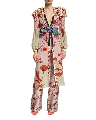 Bellfolia Poppy-Print Silk Kimono with Velvet Belt and Matching Items