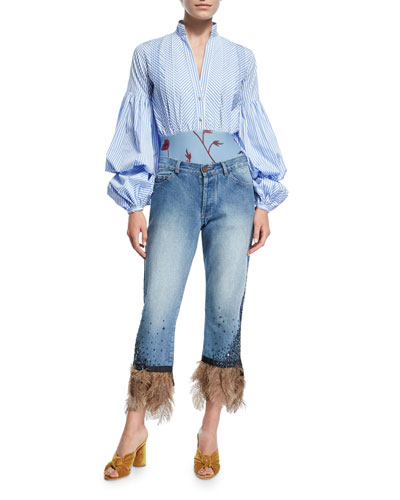 Petra Feather-Hem Cropped Boyfriend Jeans and Matching Items