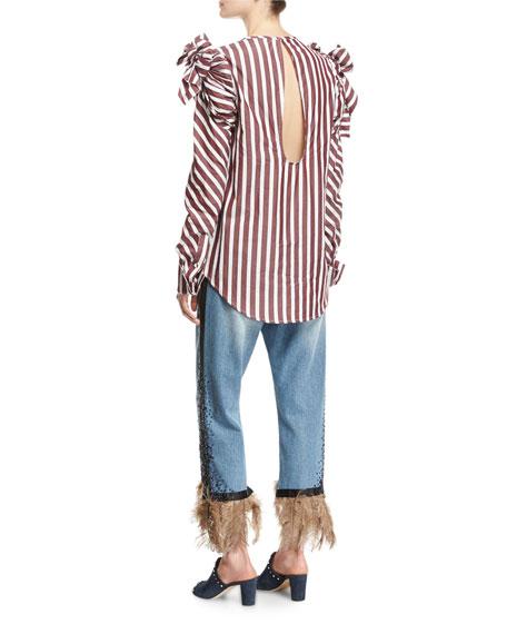 Petra Feather-Hem Cropped Boyfriend Jeans