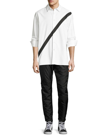 Neruda Contrast-Stripe Cotton Shirt, White/Black