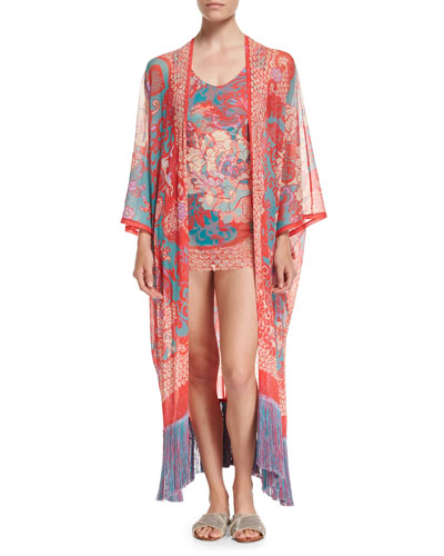 Floral Paisley One-Piece Swimdress with Tulle Overlay, Pink and Matching Items