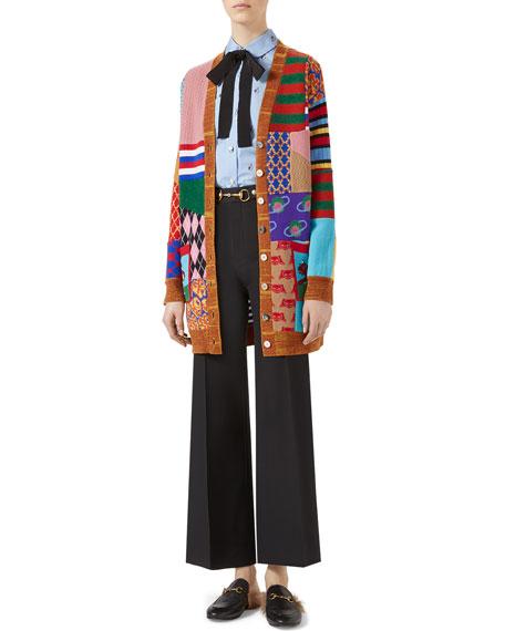 Patchwork Oversize Wool Cardigan, Multicolor