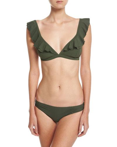 V-Neck Ruffled Bikini Swim Top and Matching Items