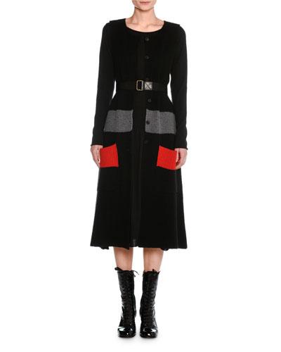 Sleeveless Wool Colorblock Cardigan Sweater Dress and Matching Items