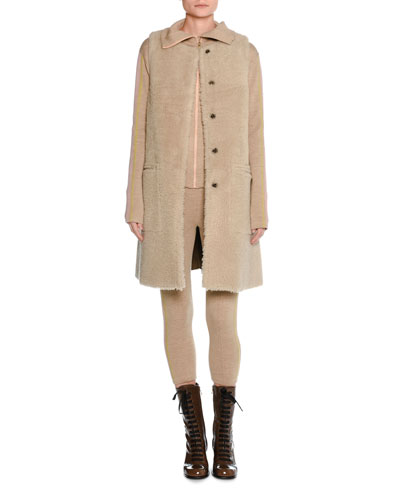 Long Shearling Vest Coat and Matching Items