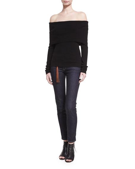 Off-the-Shoulder Merino Wool-Blend Top