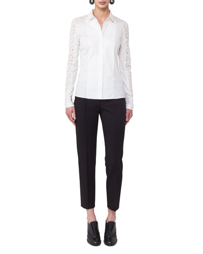 Lace-Sleeve Poplin Blouse and Matching Items