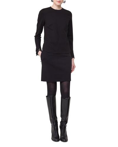 Round-Neck Lace-Cuff Sweatshirt and Matching Items