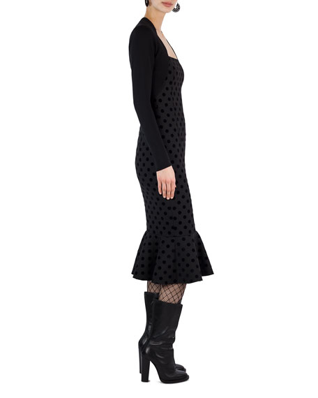 Square-Neck Velvet Dot Midi Dress