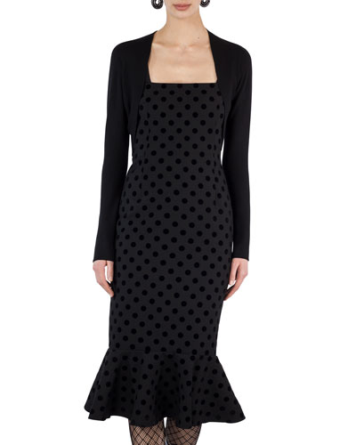 Square-Neck Velvet Dot Midi Dress and Matching Items