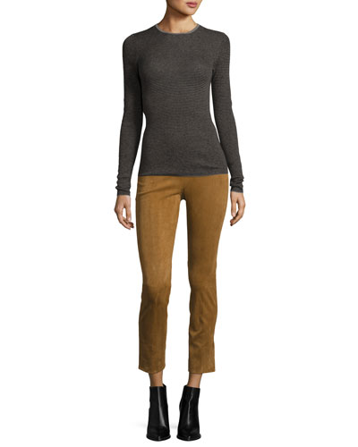 Striped Skinny Rib Cashmere Sweater, Gray Multi and Matching Items