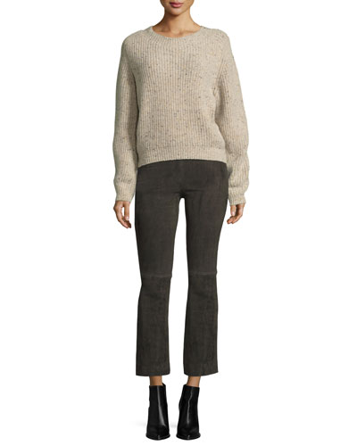 Cropped Saddle Cashmere Pullover Sweater, Neutral Pattern and Matching Items