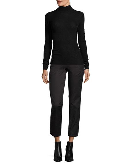 Skinny Rib-Knit Cashmere Turtleneck Sweater