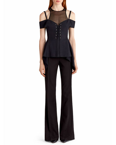 Cold-Shoulder Lace-Up Bustier Top, Black and Matching Items