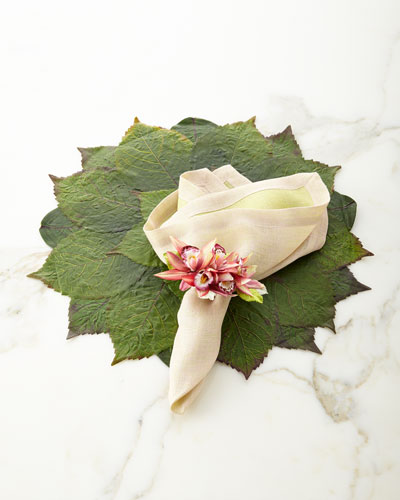 Leaf Placemat, Reversible Napkin & Orchid Napkin Ring