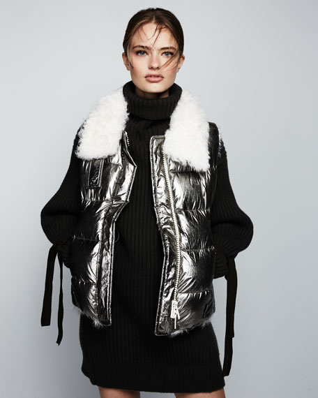 Lirio Quilted Metallic Puffer Coat W/ Shearling