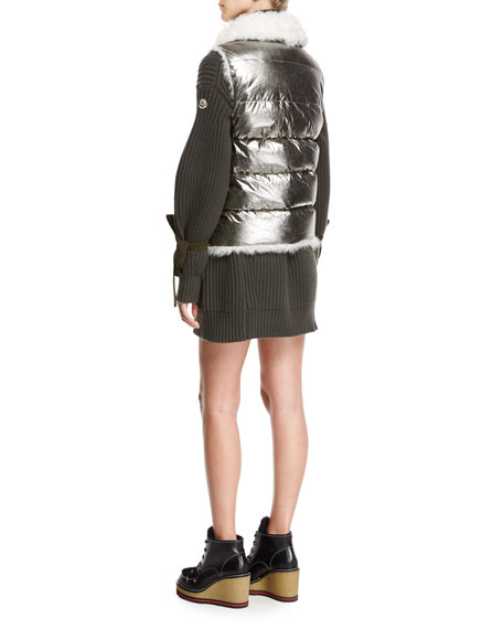 Kerria Metallic Fur-Collar Puffer Vest