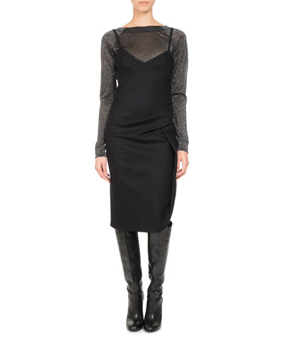 Wool-Cashmere Ruched Slip Dress, Black and Matching Items