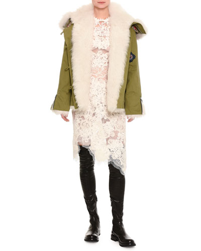 Fur-Lined Parka with Patches, Olive  and Matching Items