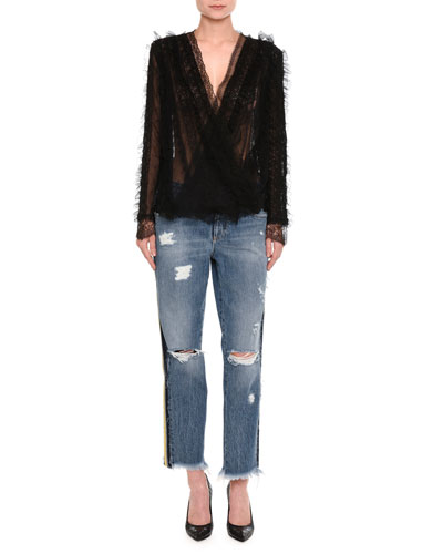 Distressed Side-Stripe Cropped Boyfriend Jeans, Indigo and Matching Items