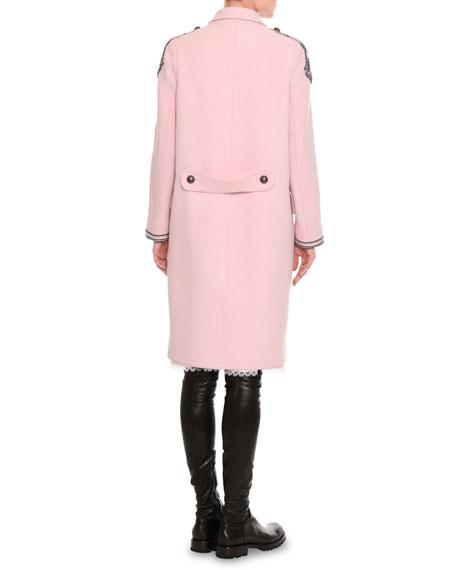Pashmina Lace-Inset Long-Sleeve Dress