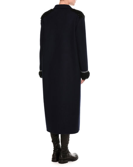 Beaded Double-Breasted Virgin Wool Overcoat