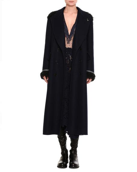 Mixed-Lace Long-Sleeve Midi Dress