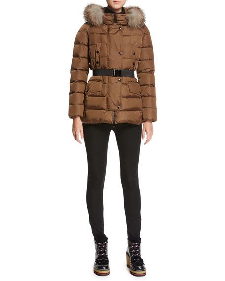 Clio Fur-Trim Belted Puffer Coat