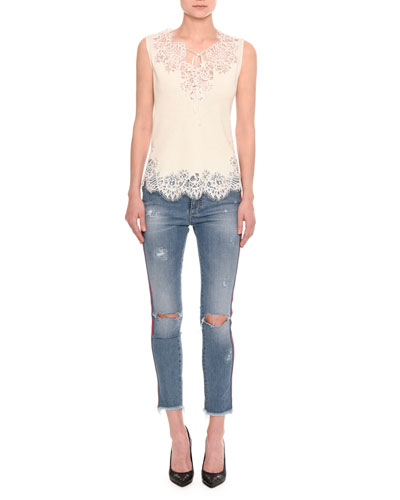 Distressed Side-Stripe Skinny Jeans, Indigo and Matching Items