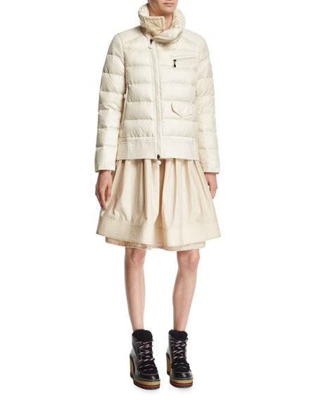 Margaret Quilted Puffer Jacket, Light Beige