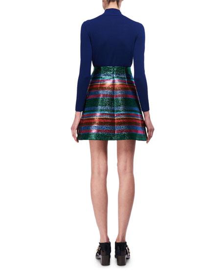 Embellished Mock-Neck Merino Wool Sweater