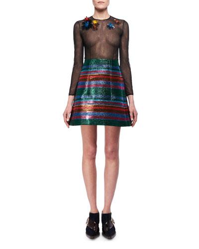 Lurex Striped A-Line Miniskirt and Matching Items
