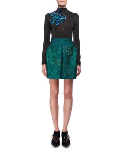 Lurex Floral Jacquard Miniskirt and Matching Items