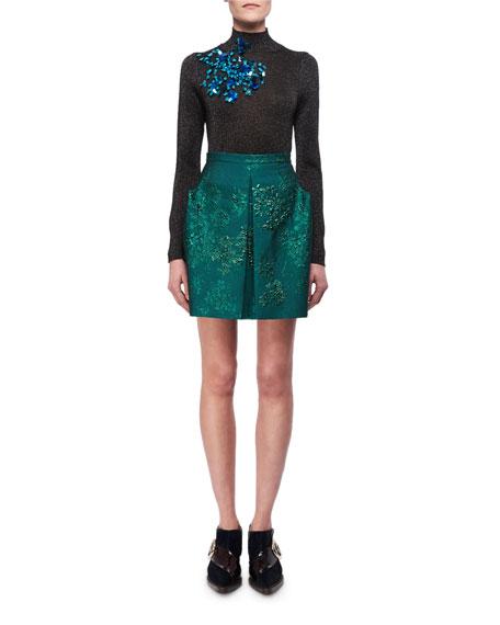 Metallic Floral Jacquard Miniskirt