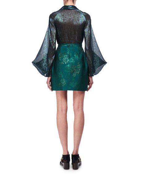 Iridescent Metallic Full-Sleeve Blouse