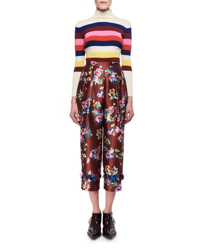 Striped Merino Wool Mock-Neck Sweater and Matching Items