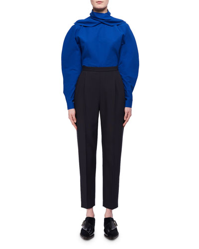 Cropped Slim Wool-Silk Trousers and Matching Items