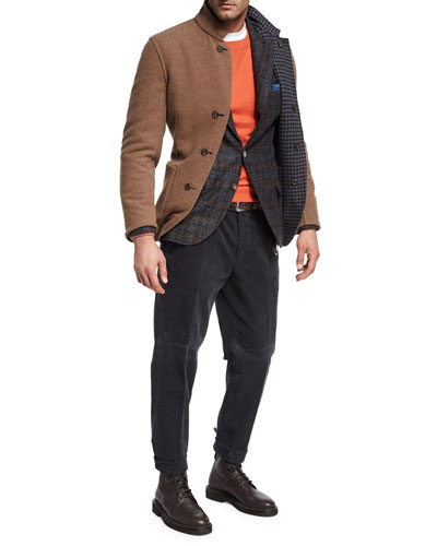 Plaid Alpaca-Wool Sport Jacket, Red and Matching Items