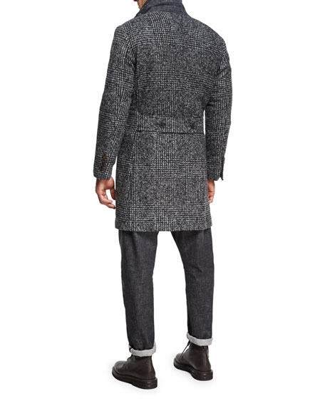 Glen Plaid Alpaca Single-Breasted Coat, Dark Gray