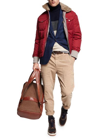 Glen Plaid Wool-Cotton Sport Coat, Dark Blue