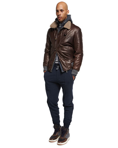 Leather Jacket with Shearling Collar and Matching Items