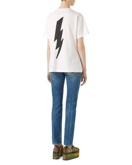Leopard Print Cotton T-Shirt, White