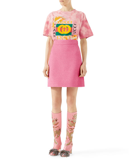 Fish Embroidered Cotton T-Shirt, Pink