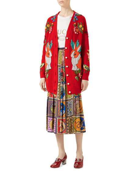 Oversize Embroidered Wool Cardigan, Red