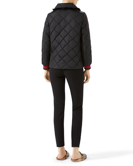 Quilted Jacket with Web, Black